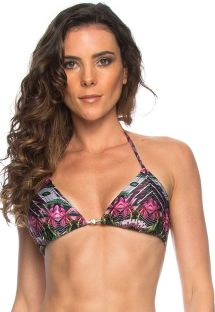 Sliding triangle bikini top in a pink and green floral print - SOUTIEN NATIVE LACINHO