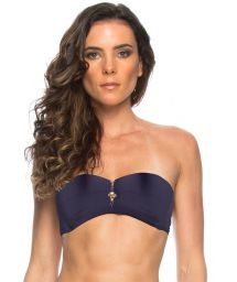 Midnight blue zipped and padded bandeau top - SOUTIEN OCEANO ZIPER