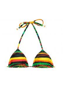 Colourful print sliding triangle bikini top - SOUTIEN PINTURA CORACAO