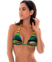 Multicoloured print halterneck triangle bikini top - SOUTIEN PINTURA
