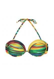 Underwired bandeau top with painted-style stripes - SOUTIEN PINTURA JOIA