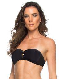 Black zipped bandeau top with gold-coloured detail - SOUTIEN RAQUEL