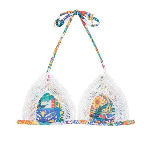 Triangle bikini top with lace - SOUTIEN RENDA CERAMICHE