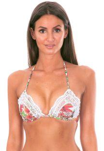 Driehoekig bikinitopje met bloemenmotief en voorzien van kant - SOUTIEN RENDA RENASCENCA