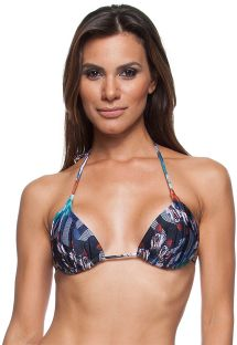 Blue printed triangle bikini top with fixed padding - SOUTIEN RIVA DRAPEADA