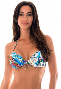 Colorfully printed underwire push up bikini top - SOUTIEN RIVIERA FRANCAISE