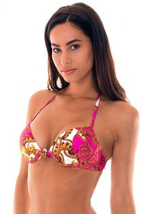 Underwire push-up bikini top in a pink and gold print - SOUTIEN ROCOCO CORACAO