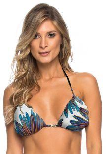 White triangle bikini top with feathers - TOP ARACAJU
