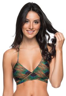 Wrap halter top in green / copper print - TOP BOJO CRUZADO METALLIC