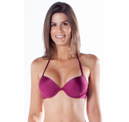 Burgundy push-up balconette bikini with underwire - TOP BOLHA DRAPEADA ACAI