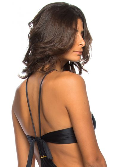 Black bandeau top with molded cups and underwires - TOP BONITO PRETO