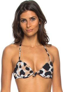 Animal pattern underwired push-up top - TOP CAPIM LIMAO