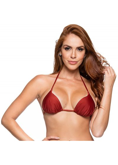 Padded sliding triangle top in solid red - TOP CORTINAO EBANO