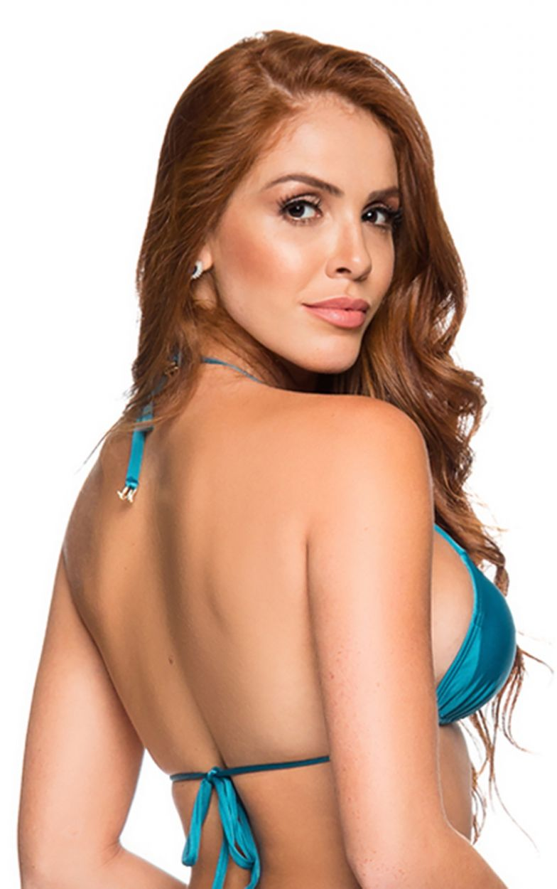 Blue triangle sliding bikini top - TOP CORTININHA FRENCH