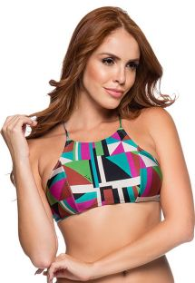 Crossed back crop top in colorful geometric print - TOP CROPPED DELUANAY