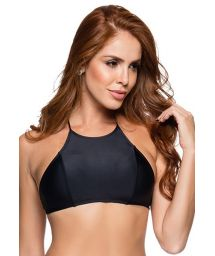 Crossed back crop top in solid black - TOP CROPPED PRETO