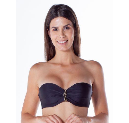 Accessorized black bandeau bikini top - TOP FAIXA ACESSORIO PRETO