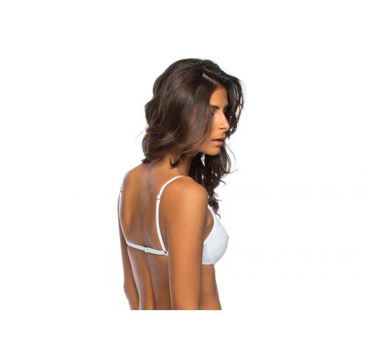 White strappy textures bikini top - TOP FLORES BRANCA