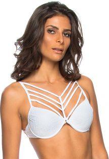 Weiß Riemchen Texturen Bikini-Oberteil - TOP FLORES BRANCA