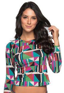 Long sleeve top in colorful geometric print - TOP LONGA DELAUNAY