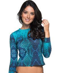 Long sleeve top in blue print - TOP LONGA DIAMNOD