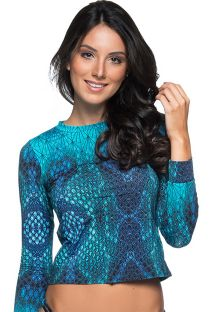 Long sleeve top in blue print - TOP LONGA DIAMNOD