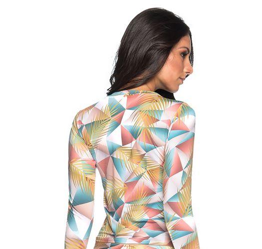 Geometriskmønstrete langermet rashguard i pastellfarger - TOP LONGA GEOMETRIC ART