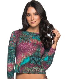 Long sleeve top in peacock print - TOP LONGA VOLERY