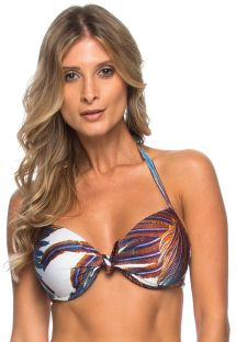 Hard padded balconette bikini top with feathers - TOP MANGUE
