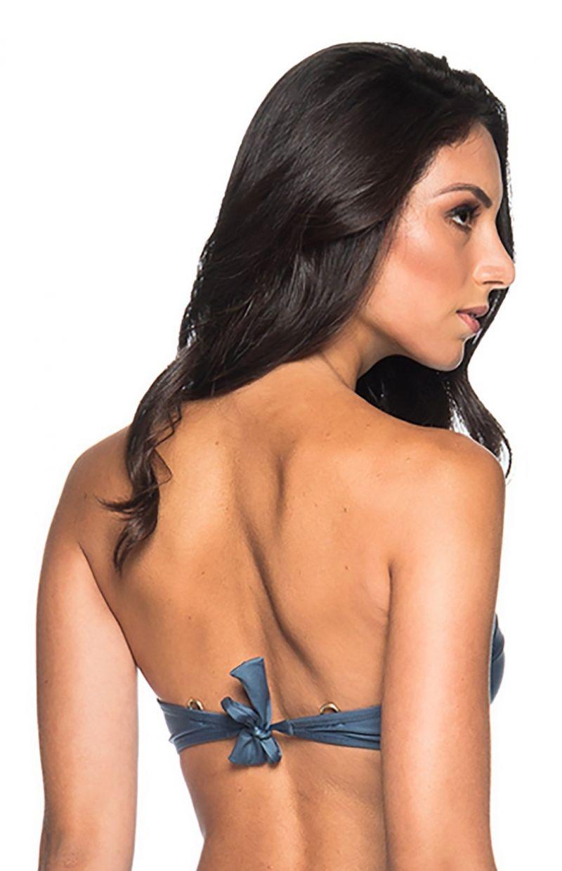 Accessorized dark blue bandeau bikini top - TOP METAL ELEGANCE