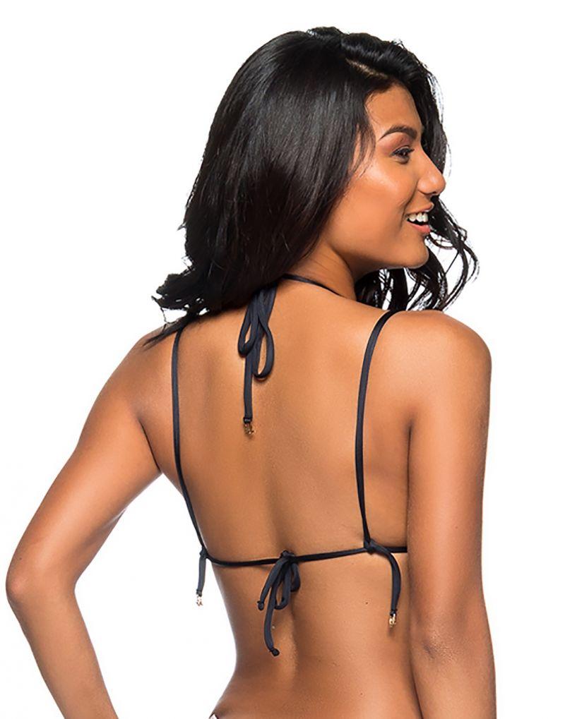 Black triangle bikini top double straps - TOP ROLETÊ PRETO