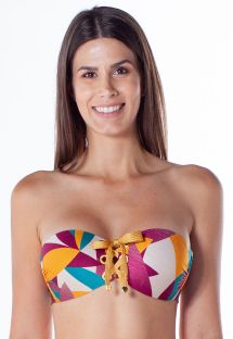 Colorful print laced bandeau top - TOP TQC ILHOS RAMA