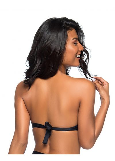 Black padded bandeau top with braided details - TOP TQC TRESSE PRETO