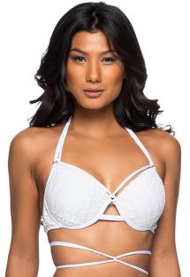 White strappy balconette bikini top - TOP TRANSPASSADO BRANCO