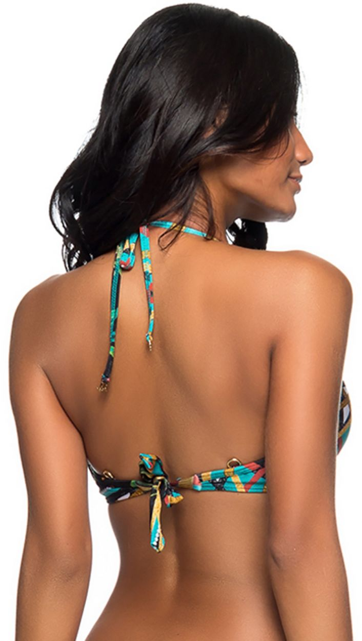 Underwired balconette top in colorful print - TOP TURB MOSAIC