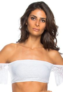 White textured bikini bandeau top with sleeves - TOP VATAPA