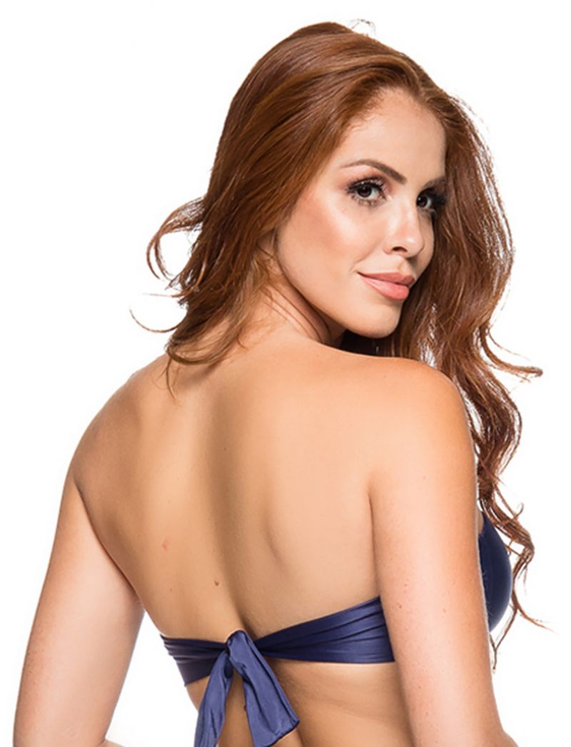 Bandeau bikini top in dark blue - TOP ZIPPER NEW YORK