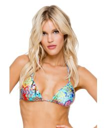 Colourful sliding triangle top with rhinestones - SOUTIEN CAYO CRYSTALLIZED