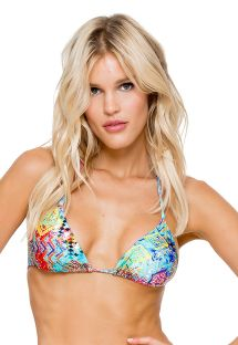 Top triangolo scorrevole stampa colorata e strass - SOUTIEN CAYO CRYSTALLIZED