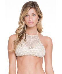 Crop bikini top in iridescent gold/white mesh - SOUTIEN CLEOPATRA