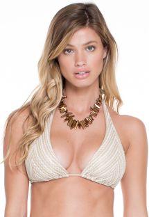 Gehaakt driehoekig blauw/gouden bikinitopje - SOUTIEN DESERT HALTER