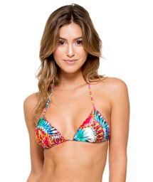 Multicoloured tie-dye triangle bikini top with sequins - SOUTIEN ENCANTADORA CRYSTALLIZED