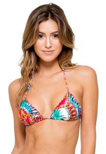 Top triangular batique multicolorido c/ brilhantes - SOUTIEN ENCANTADORA CRYSTALLIZED