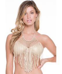 Iridescent gold crop bikini top with fringes and macramé detail - SOUTIEN IRIS