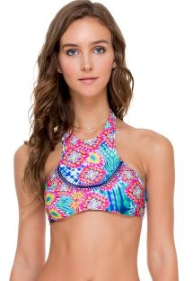 Reversible tie-dye woven swim crop top - SOUTIEN MESS COLOR
