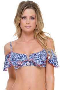 Frilled printed bandeau bikini top - SOUTIEN NAUGHTY GIRL FRUFRU