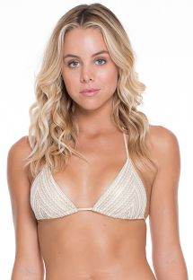 White/gold mesh triangle bikini top - SOUTIEN NEFERTITI