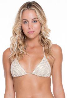 Parte superior de bikini con forma triangular de punto blanco/dorado - SOUTIEN NEFERTITI