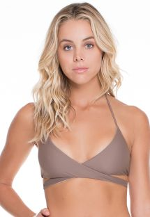 Reversible taupe/gold cross-over triangle top - SOUTIEN REVERSIBLE SANDY TOES