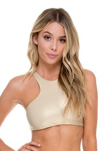 Shiny gold swimsuit crop top, back lacing - SOUTIEN SPORTY GOLD RUSH